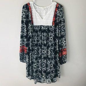 Umgee black floral boho embroidered mini dress
